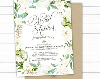 White Floral Bridal Shower Invitation, Rustic Bridal Shower Invite, Wedding Shower Printable, White Bridal Shower, White floral Invite, DIY