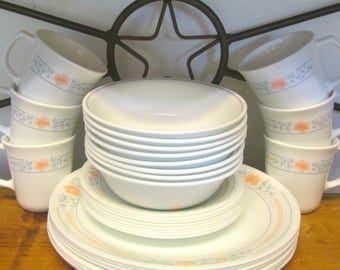 Service for 8 Corelle by Corning Dinner Set Dishes CHRISTMAS SPECIAL USA Large Set Great Gift Gorgeous Blue Gray and Peach Floral Pattern