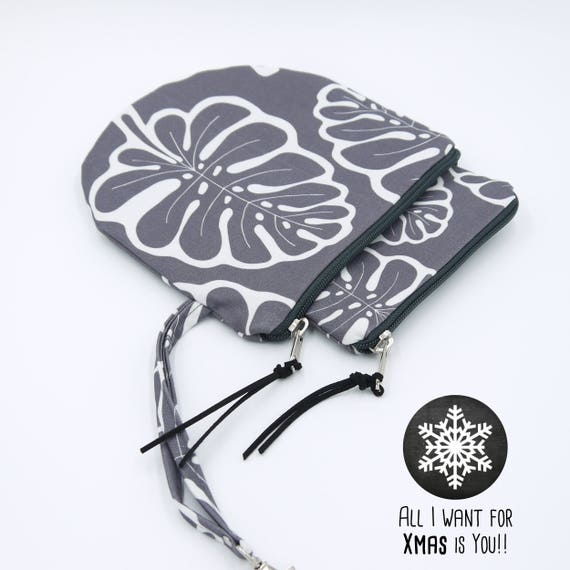 """Pair of grey and white Pochette """"Monstera"""" Medium + Small-Round pouches, Special Xmas 2017"""