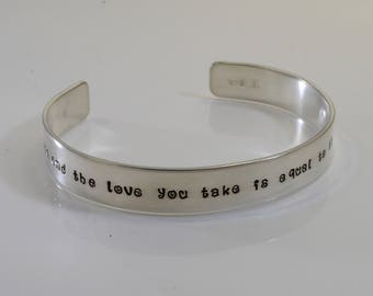 Sterling Silver Beatles inspired bracelet - And in the end the love you take is equal to the love you make