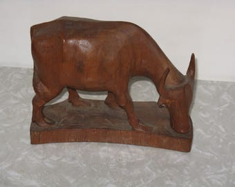 Vintage hand carved wood bull figurine