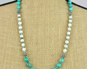 Turquoise, Pearls and Sterling Silver