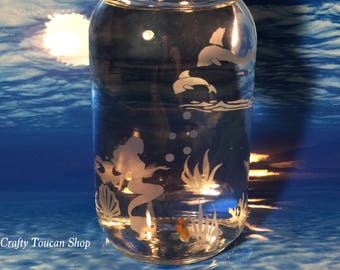 Mermaid Fish Aquarium Personalized Gift For Granddaughter Daughter Fantasy Theme Bedroom Decor Etched Engraved Glass Present Teacher Student