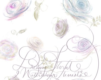 Dreamy Watercolour Flowers PNG Clipart Faded Faint Soft Pastel Transparent Washout Handpainted Digital Art 300dpi Printable Instant Download