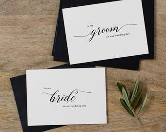 Wedding Card to Bride & Groom On Our Wedding Day - Bride + Bride, Groom + Groom, Wedding Cards, To My Groom To My Bride Cards, 2 Cards, K2