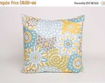 On Sale July Only Aqua Blue Yellow Putty and Green Modern Floral Pillow Waverly Button Blooms Spa designed to fit 16, 18, 20 or 22 inch inse