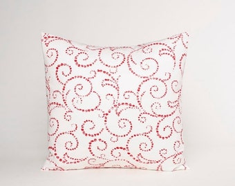 On Sale July Only Red and White Pillow Cover, Red Scroll Pillow, Red throw Pillow, Accent Pillow, Cushion Cover Fit 14, 16, 18, 20 or 22 Inc