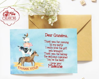 Farm Birthday Thank You Card, Barnyard Birthday Thank You Card, Farm Thank You Card,