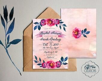 Floral Bridal Shower Invitation, Bridal Shower Invitation, Watercolor Bridal Shower Invitation, Watercolor Invite, Floral Shower Invitation