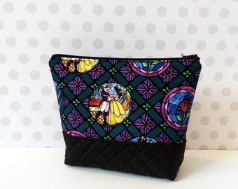 Large Makeup Pouch / Beauty and the Beast Badges Stained Glass
