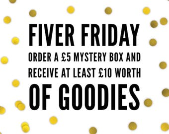Fiver Friday mystery box with at least ten pounds worth of goodies inside!