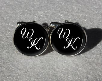 Customized Monogram Wedding Cuff Links,Personalized Name Initial Letter Wedding Cufflinks for Bridegroom,Rustic Wedding Gift for Groom