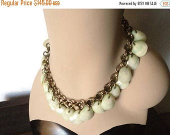 On Sale 1930's  Unsigned Haskell Green Seashell Choker Necklace