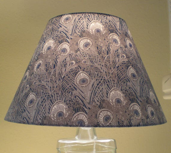 Handmade Coolie  Lightshade - Liberty Fabric - Hera - Peacock Feather Design- Navy and Grey