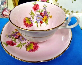 Royal Stafford Tea Cup and Saucer Pink & Floral Pattern Teacup