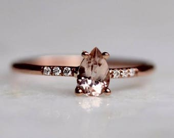 14K Pear Morganite Solitaire Ring, Pave Set Diamond, Pear Engagement Ring, Dainty Engagement Ring, Minimal Jewelry, Solid Gold, Pink Stone