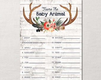 Name the Baby Animal Shower Game ~ Boho Woodland Deer Antler ~ DIY Printable~ Instant Download