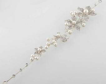 Hair jewelry strip bendable crystal flowers silver