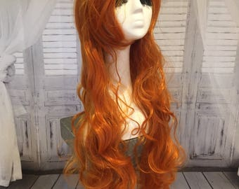 Long Ginger Red Wig Wavy Hair Cosplay Mermaid Length Redhead Hair #13