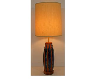 Mid Century Modern Blue Green Ceramic Wood Table Lamp Original Shade & Finial