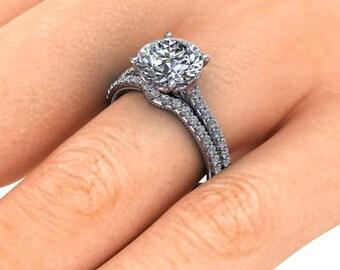 Forever One Moissanite Engagement Ring, 2 Carat Moissanite, Vintage Inspired Engagement Ring, Platinum