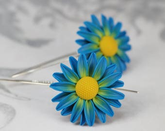 Blue and yellow crazy daisy flower earrings, polymer clay floral jewelry