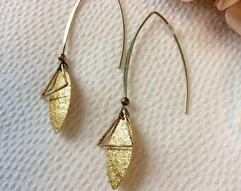 Earrings drops bronze hook clasp