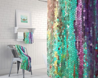 teal and purple mosaic shower curtain set morning has broken abstract colorful shower curtain