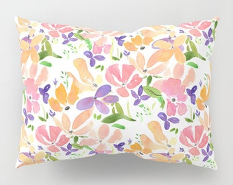 Flower Pattern Pillow Case - orange and pink blossoms, floral, feminine, bright colorful, bedroom decor, art, curate the bedroom