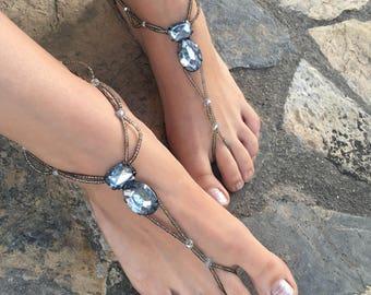 Black and silver barefoot sandals.yoga anklet..wedding barefoot sandals..beaded barefoot sandals.bridesmaid gift..pearls anklets..bride