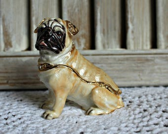 Pug. Trinket box. Rhinestones. Gold. Jewlery box. So cute!