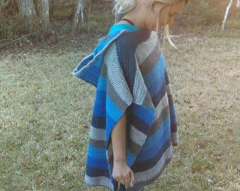 NEW! Handmade crochet oversized poncho with hood