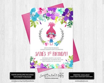 Trolls Birthday Invitation Princess Poppy Party Invites Floral Flower Pretty Elegant Girls First Birthday Printable Digital File or Prints