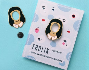 Hollow Girl Gold Plated Enamel Pin