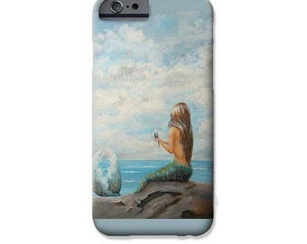 Mermaid cell phone case for iPhone, iPhone 6, iPhone 7, 8, X, Plus. Mermaid art by Nancy Quiaoit