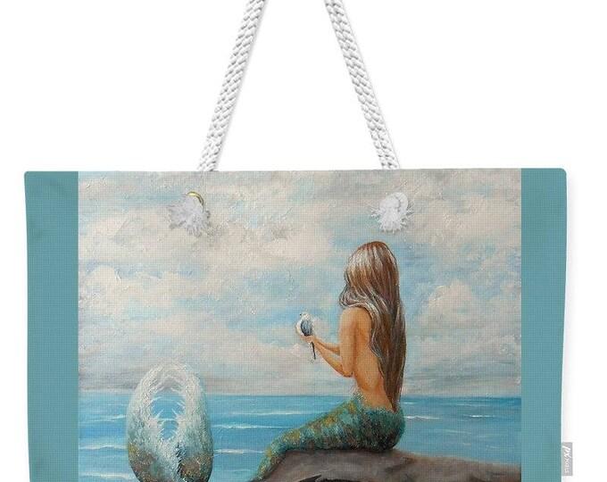 Large mermaid weekender tote bag,  mermaid purse,  blue mermaid beach tote, original painting by Nancy Quiaoit