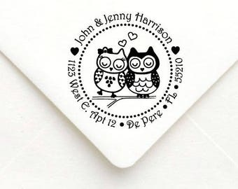 Personalized Self Inking Return Address Stamp - self inking address stamp - Custom Rubber Stamp, Owl Couple Address Stamp A46