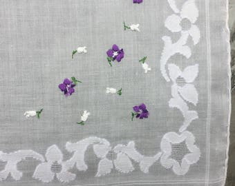 SALE Handkerchief Embroidered Violets Blossoms Wide Stitched Border Mid-Century
