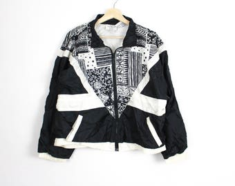 LARGE | 80's Black and White Abstract Geometric Windbreaker