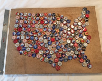 USA Bottle Caps Map on Wood