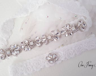 Beaded Lace Wedding Garter Bridal Set Opal Keepsake