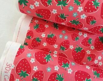 30's Collection - Strawberries on Red - Atsuko Matsuyama - Yuwa - Japanese Fabric