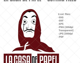 La casa de papel svg - Dali Mask svg, clip art, cricut, silhouette cut file