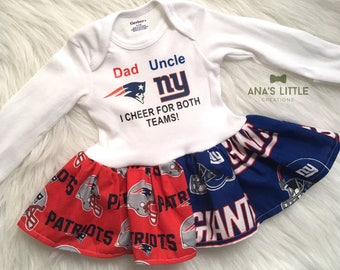 Custom House Divided Bodysuit Dress ( Patriots-Giants) I Cheer For Both Teams