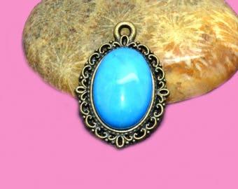 2 cabochons gemstone 14 x 10 blue agate