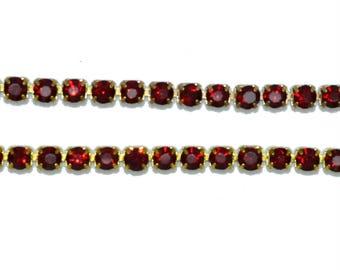 stunning siam red rhinestone 03mm chain 50 cm