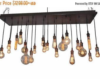 FLASH SALE Edison Bulb Moment- Industrial Chandelier, Rustic Chandelier, Ceiling Light Fixture, Modern Lighting, Urban Lighting