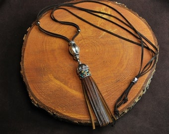 Buffalo Leather Tassel Necklace
