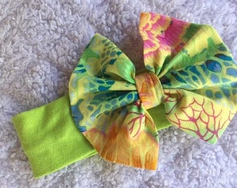 Green Floral Headband Bow