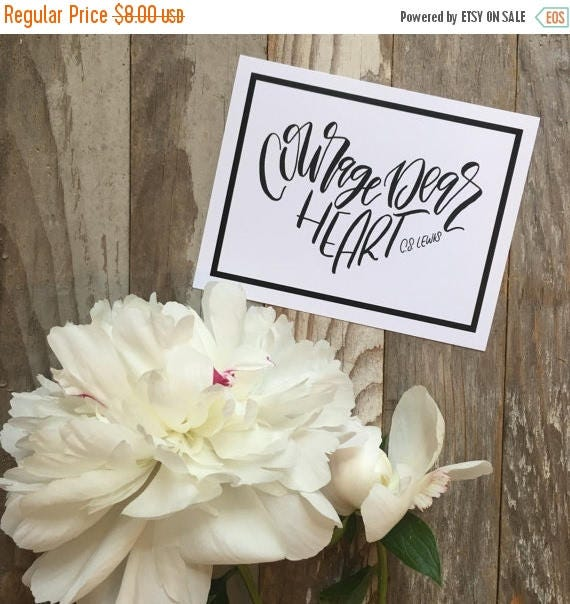 ON SALE Courage dear heart, set of encouraging postcards, C S Lewis quote, hand lettered design, Christian cards, scripture cards